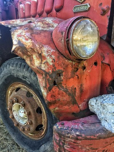 Decaying diesel truck—beauty in rust Damaged Car Obsolete Weathered Run-down Close-up