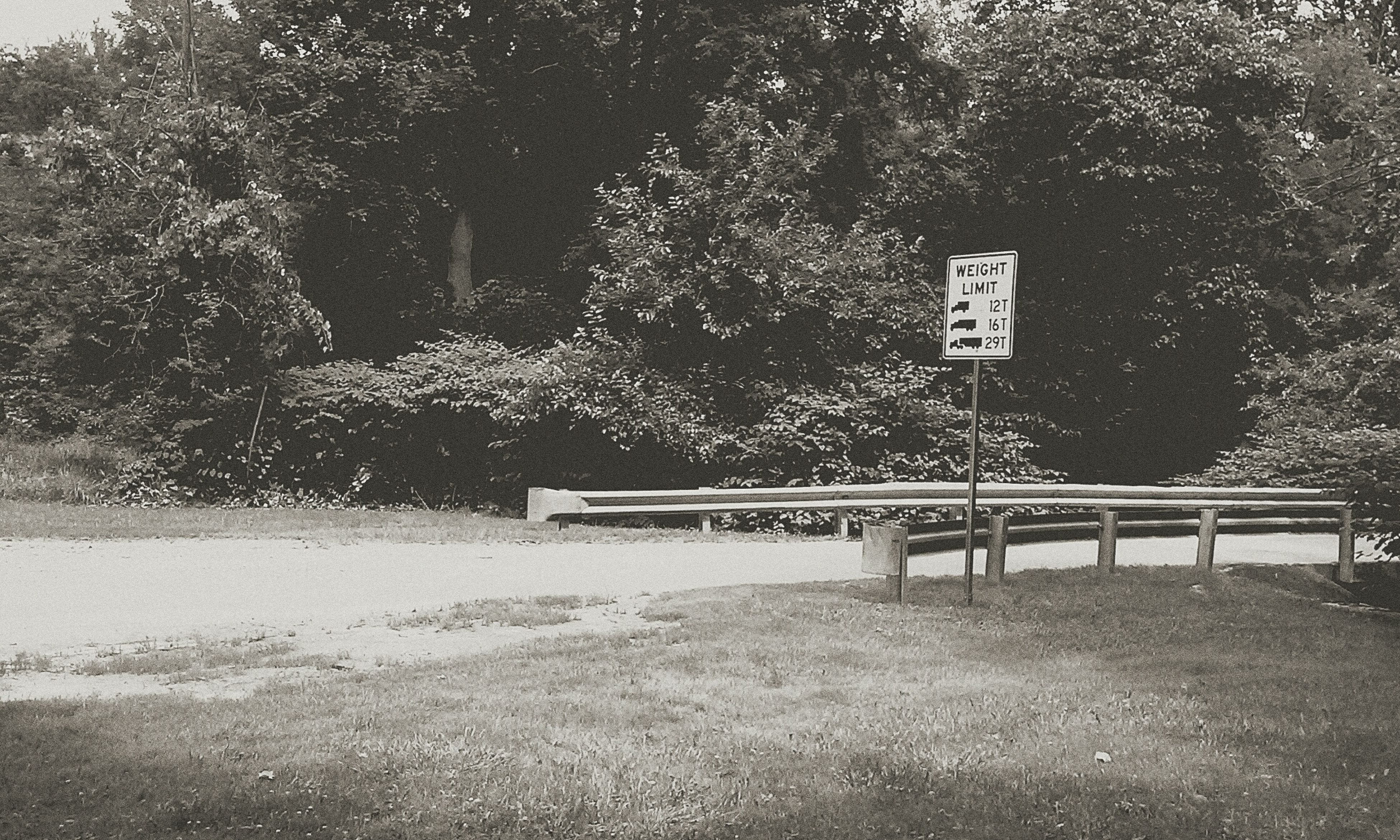 tree, text, western script, communication, information sign, sign, growth, nature, road sign, tranquility, day, guidance, bench, empty, outdoors, no people, road, railing, branch, information