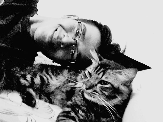 Monochrome Photography Pets Indoors  Togetherness Me And My Cat Cat Cats Of EyeEm Catlovers Cat Photography Cat Lovers Catsoftheworld Cateyes Cats 🐱 Furry Family Member Furry Cat