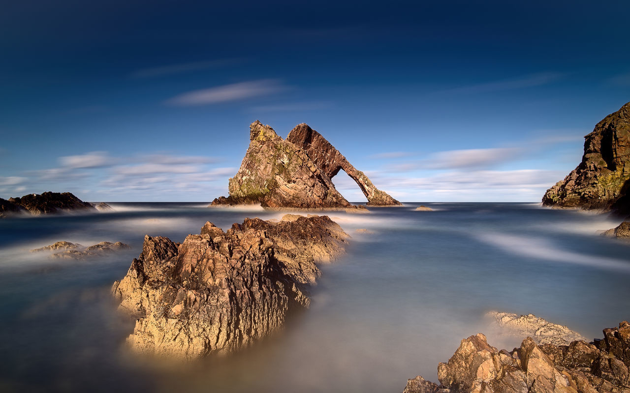 Bow-Fiddle Rock, Portknockie Coast Colour Landscape Landscape_Collection Long Exposure Nature Nature Photography Nature_collection Rock Rock Formation Scotland Scotland Wild Landscape Shore Stone Tranquil Scene Water The Great Outdoors - 2017 EyeEm Awards