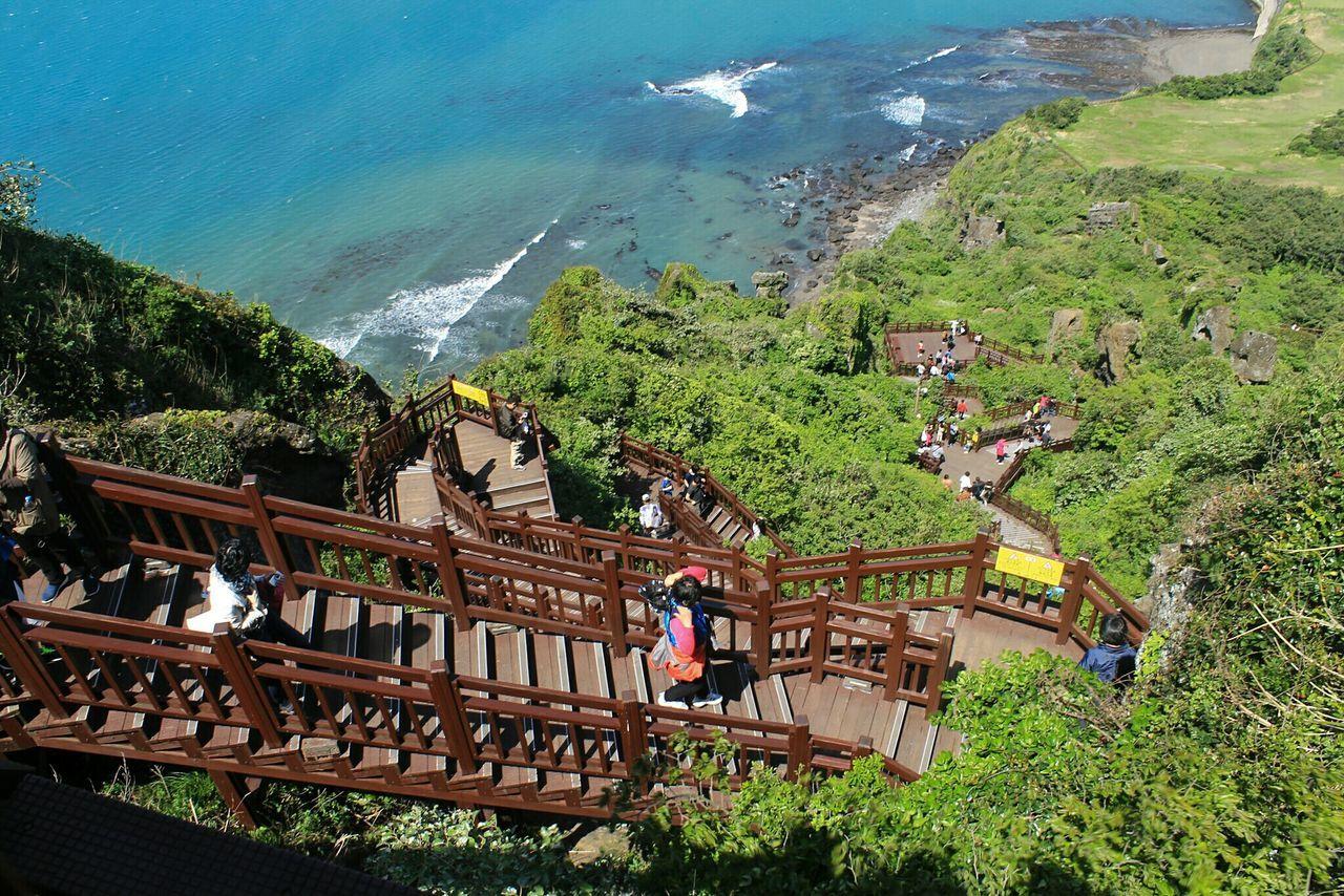 Seongsan Ilchulbong stairs. Outdoors Nature Beauty In Nature Jeju Island, Korea Sunrise Hiking Miles Away Miles Away