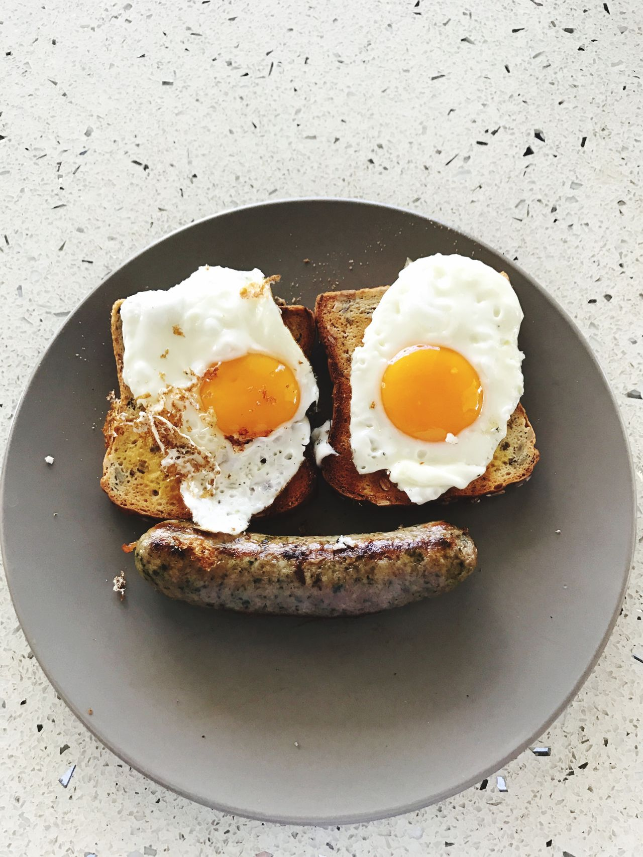 Smile :) breakfast sausage and eggs face food Egg Breakfast Plate Fried Egg Egg Yolk Ready-to-eat Food Food And Drink Toasted Bread Freshness Sunny Side Up Indoors  Healthy Eating English Breakfast No People Egg White Close-up Day Poached