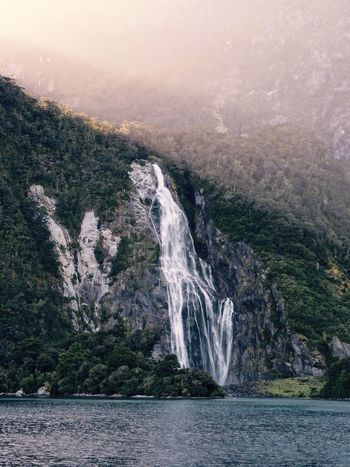 Water Scenics Sea Nature Cliff Beauty In Nature Outdoors Fog Steep No People Sky Waterfall Day Fjord Mountain Milford Sound New Zealand