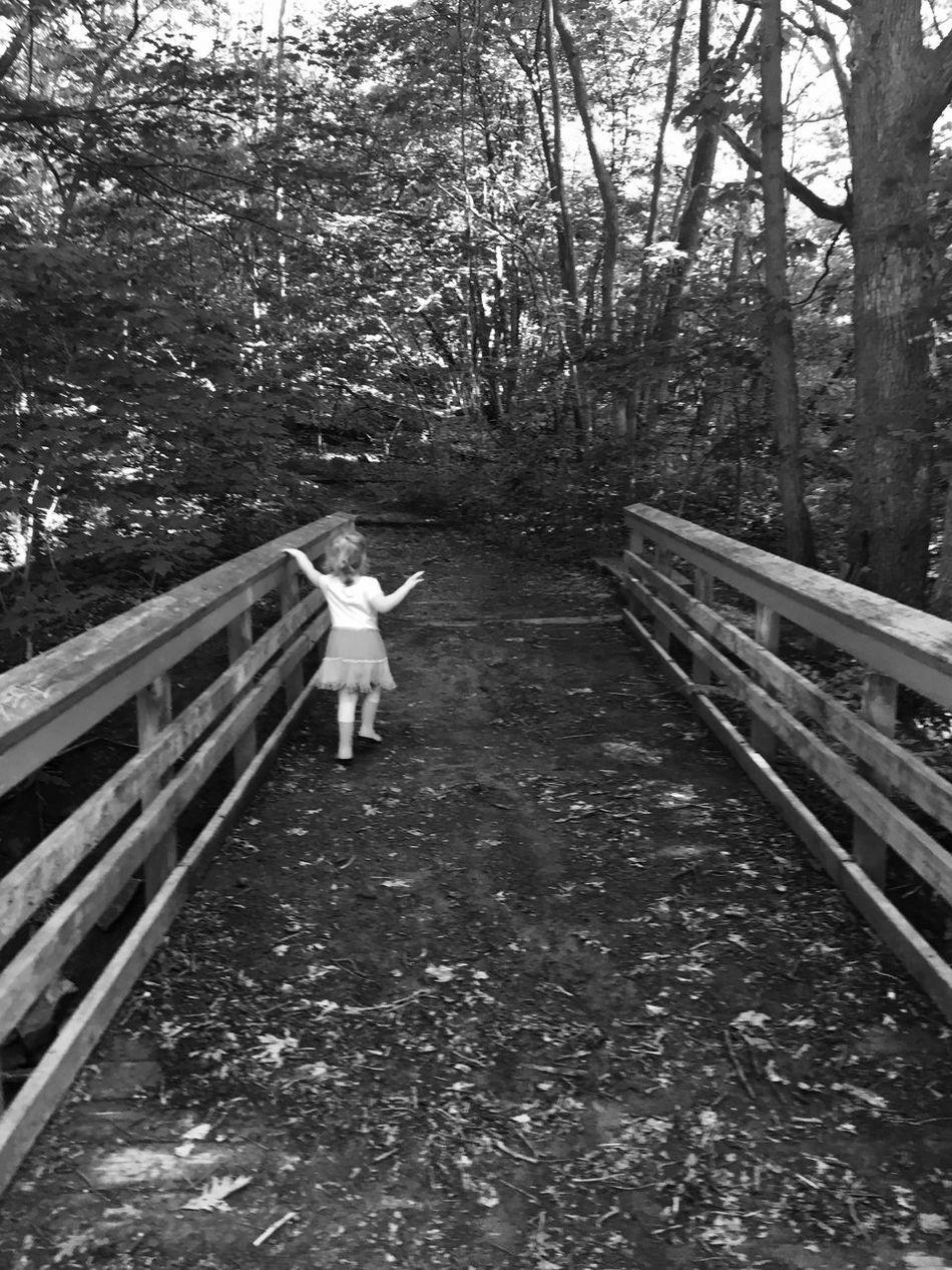 Bridge Toddlerlife Gwinning Gwennie Goose MapleWoods Creek Outside Water Blackandwhite