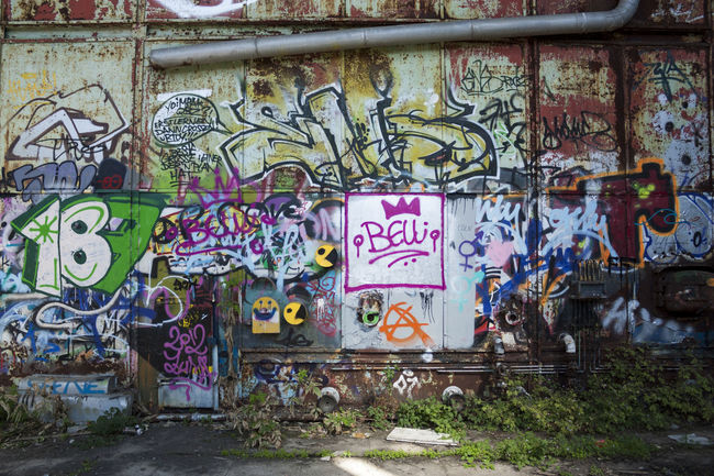 Architecture Art Art And Craft Building Exterior Built Structure Chernobyl Corrugated Iron Creativity Day Graffiti Graffiti Graffiti Art Graffiti Wall Multi Colored München Outdoors Pacman Text Wall - Building Feature