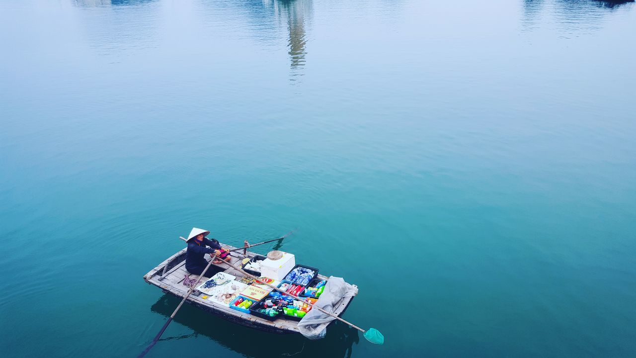 Halong Halongbay Vietnam Vacations Water Nautical Vessel Transportation Dealer Food Groceries Sea Landscape Reflection Outdoors Boat Blue Colours Merchant ASIA Tradition Culture