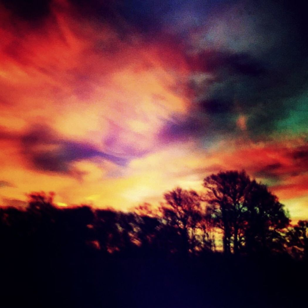 Colourful Sky taken on the Country Roads just outside Middlewich the Sky shows Beautiful Colours including Red , Purple , Blue , Green and Yellow Red Sky At Night with a Lovely Country Landscape Trees And Sky Love My Town EyeEm Best Shots - Sunsets + Sunrise