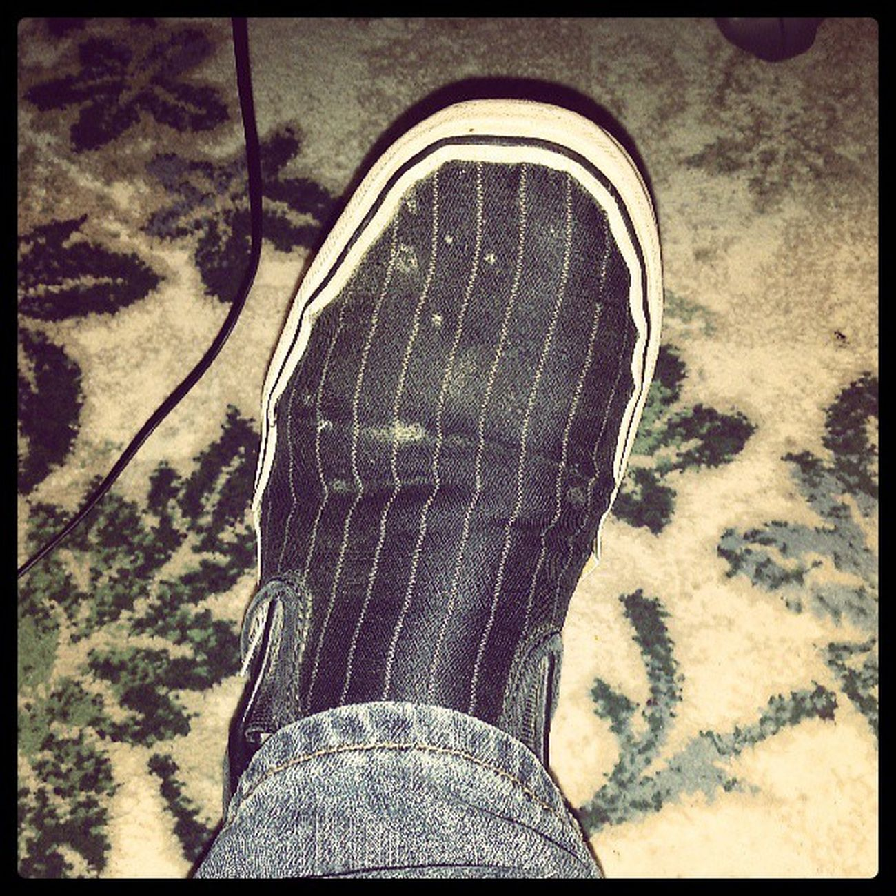Too many selfies maybe. Have a picture of my Vans . Classic Offthewall Slipon Pinstripe  Shoes Skater Black White Blue Jean Denim Hadthemforyears