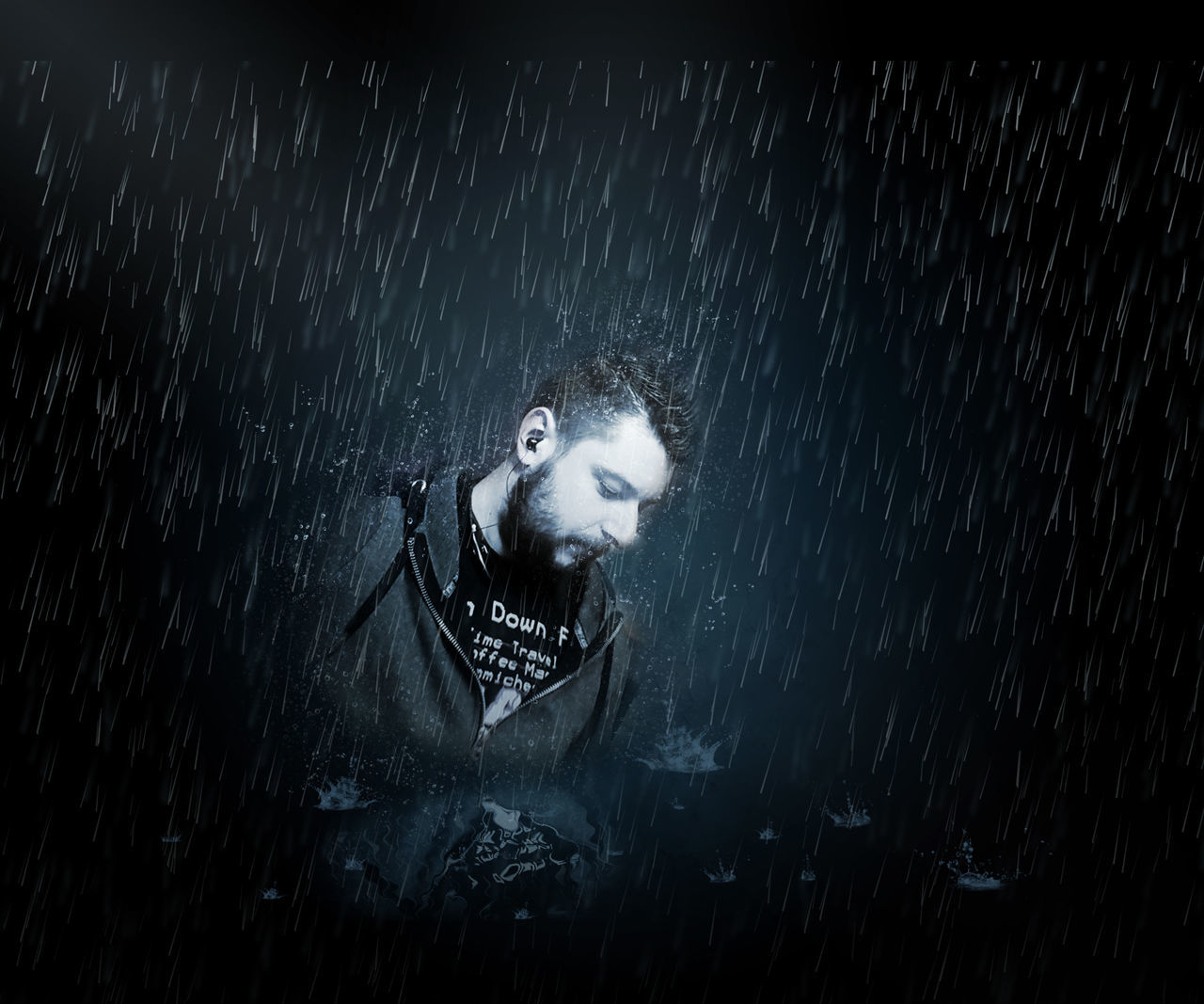 Digital Composite Image Of Man During Rainfall At Night