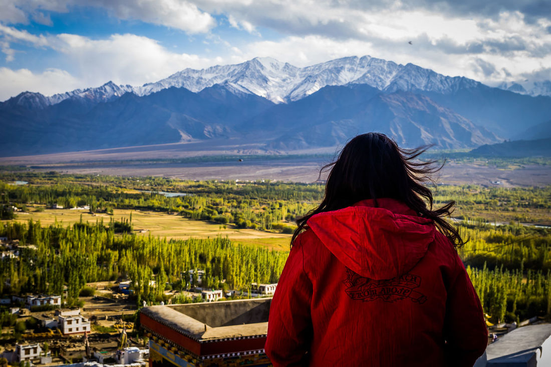 Landscape Rear View Nature Mountain Adult Travel Only Women Scenics People Women One Person Adults Only Red Beauty In Nature Human Body Part One Woman Only Outdoors Human Back Day Back Ladakhdiaries Ladakhtrip2016 Ladakh Monestry India EyeEm Selects