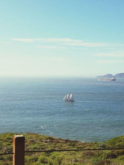 Sail Boat Shipping Boat San Francisco Bay Day Blue Sky Water Green Naturebeauty Man Made Structure