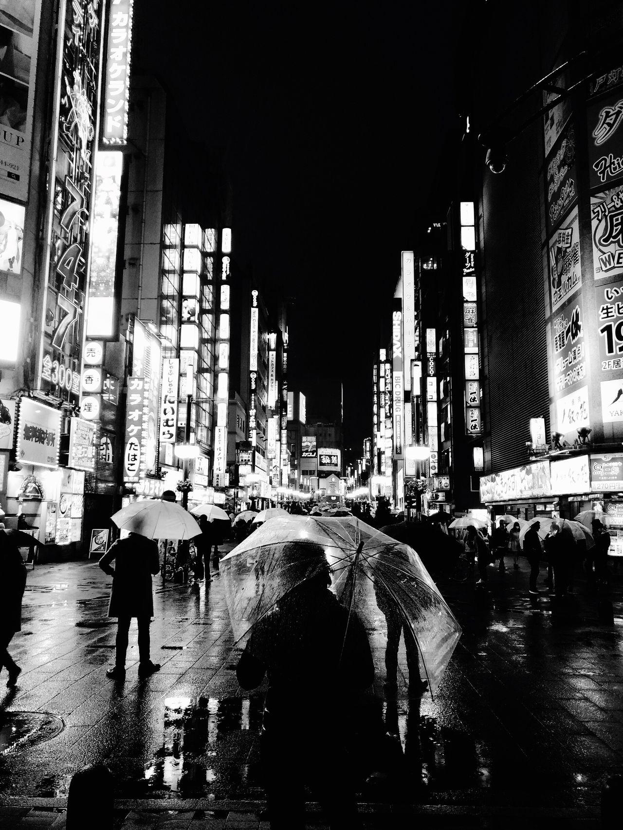 Japan Backgrounds Architecture Men People City Life Night Walking City Outdoors Umbrella Rainy Days