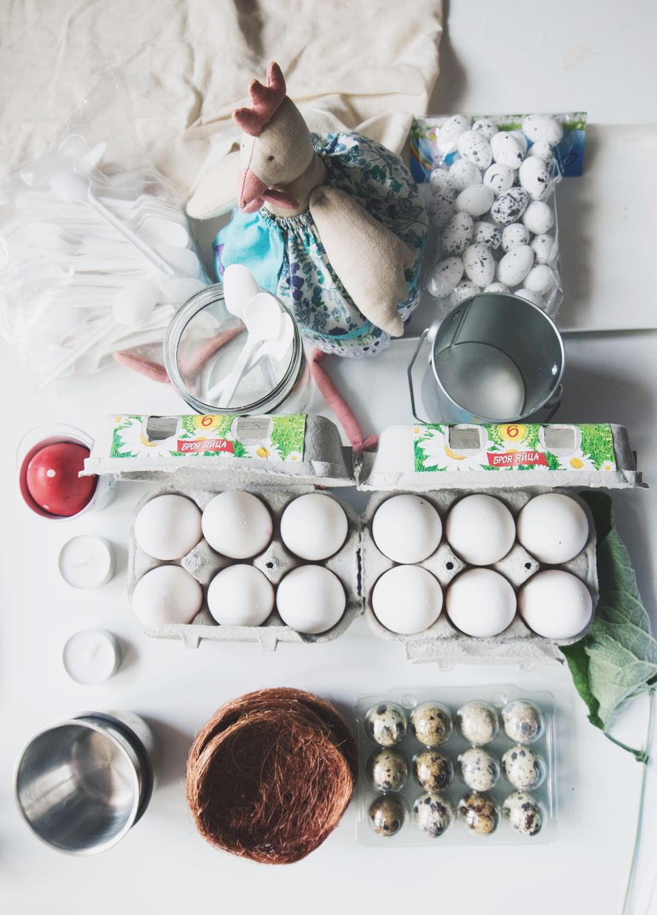 High Angle View Directly Above Food Domestic Room Easter Decoration Celebration White Table Chickens Eggs... Quail Eggs Lay Flat