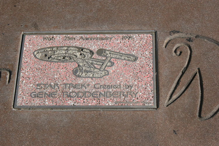 25th Anniversary of Star Trek Plaque Walk of Fame 1966 1991 25 Years Of Star Trek 25th Anniversary 25th Anniversary 1991 Close-up Day Gene Rodenberry High Angle View Hollywood Honor No People Outdoors Plaque Star Trek Walk Of Fame