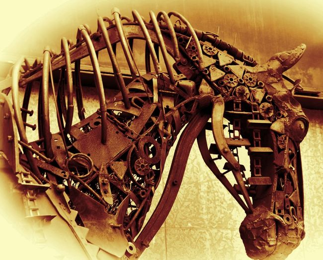 Metal Horse. Close-up Day Deterioration Industry Machine Part Machinery No People Run-down Stationary Fine Art