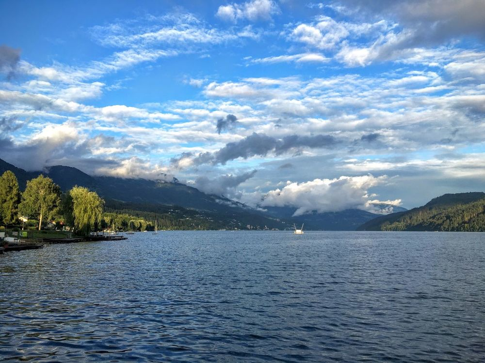 Peace And Quiet Beautiful Day Wheather Lake View Horizon Over Land Mountain Tranquil Scene Sky Clouds And Sky Cloudy Blue Beauty In Nature Day Nature Outside No People Travel Destinations Calmness Idyllic Scenery Sky And Clouds Water Quiet Places Outdoors Millstättersee