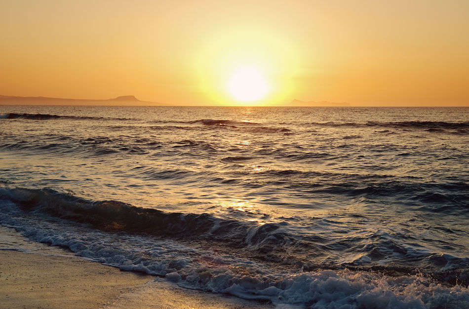 evening at the beach Beach Beauty In Nature Crete Horizon Over Water Idyllic Mediterranean Sea Nature No People Orange Color Outdoors Reflection Rethymno Sand Scenics Sea Sky Sun Sunlight Sunset Tranquil Scene Tranquility Travel Destinations Water Wave
