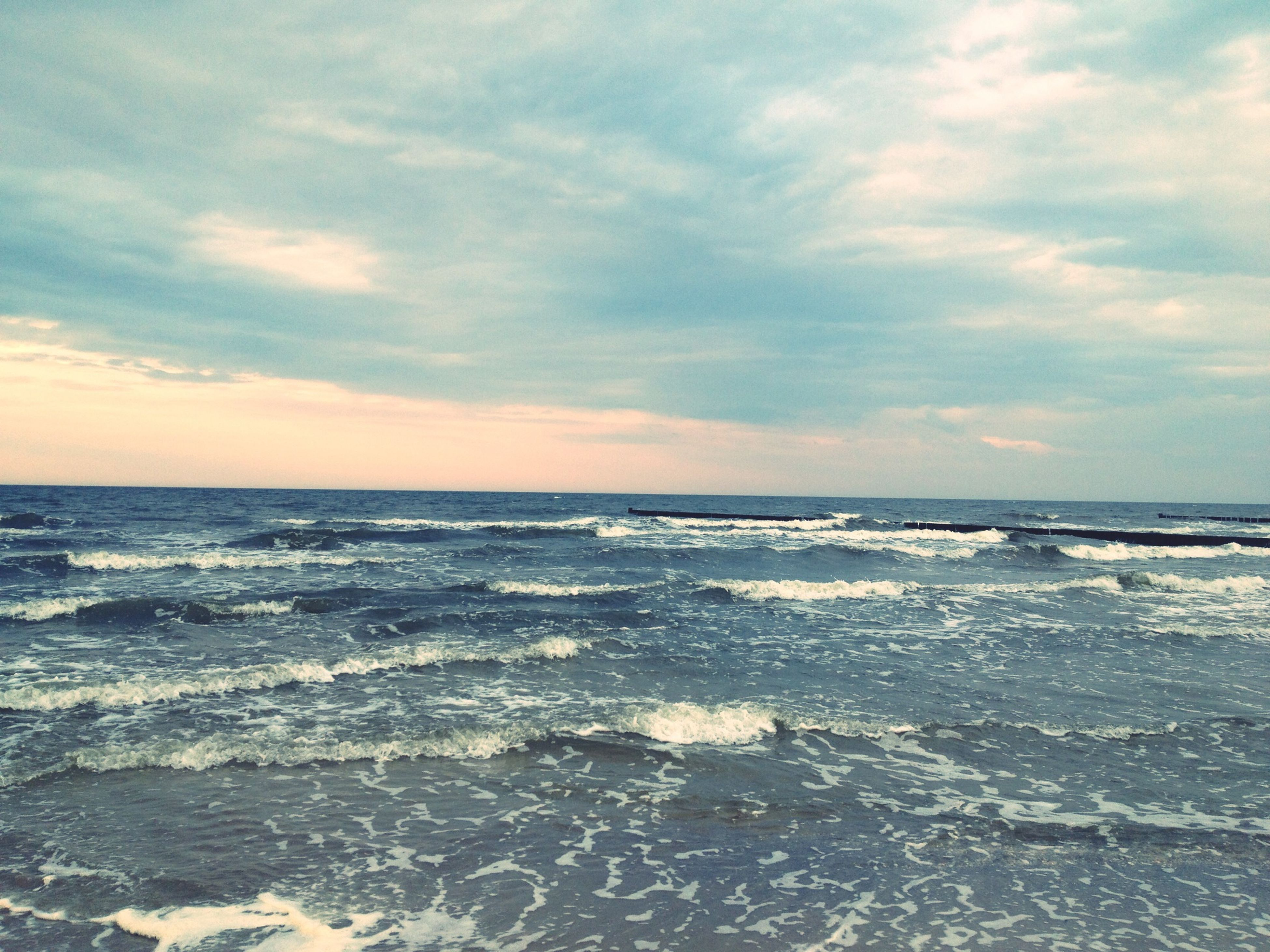 sea, water, horizon over water, sky, scenics, beauty in nature, tranquil scene, tranquility, wave, beach, cloud - sky, nature, idyllic, waterfront, shore, surf, seascape, cloudy, cloud, outdoors