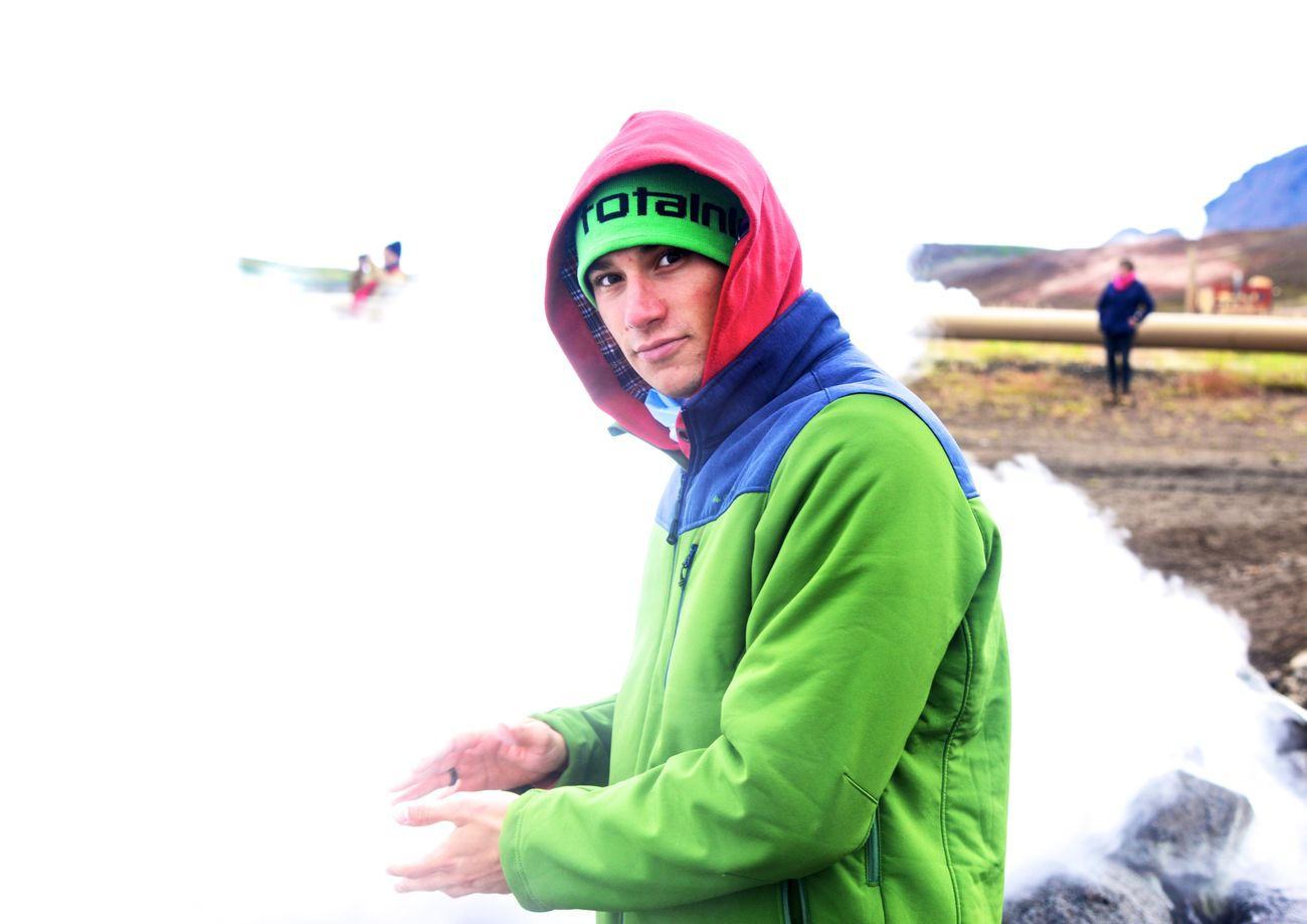 Cold Days Cold Temperature Coloured Eyes Watching You Green & Red Looking At Camera Men Multi Colored Multicolors  Outdoors People Portrait Portrait Photography Portraits Power Of Nature Sports Clothing Steam Travel Photography Traveling Warm Clothing