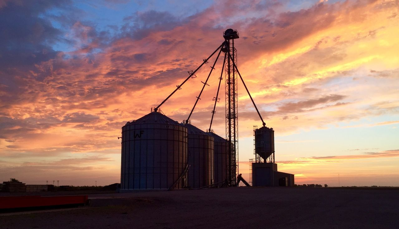 sunset, sky, orange color, storage tank, built structure, cloud - sky, silo, architecture, industry, no people, outdoors, factory, nature, day