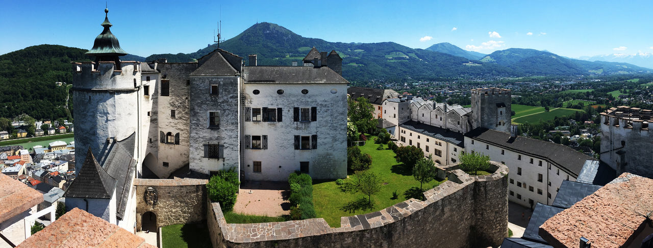 Architecture Building Exterior Built Structure Castle Castle Day Festung Hohensalzburg Fortress High Angle View Historical Historical Building History Hohensalzburg Mountain Mountain Range No People Outdoors Panorama Panoramashot Salzburg Salzburg, Austria Sky Sunny Tower Travel Destinations