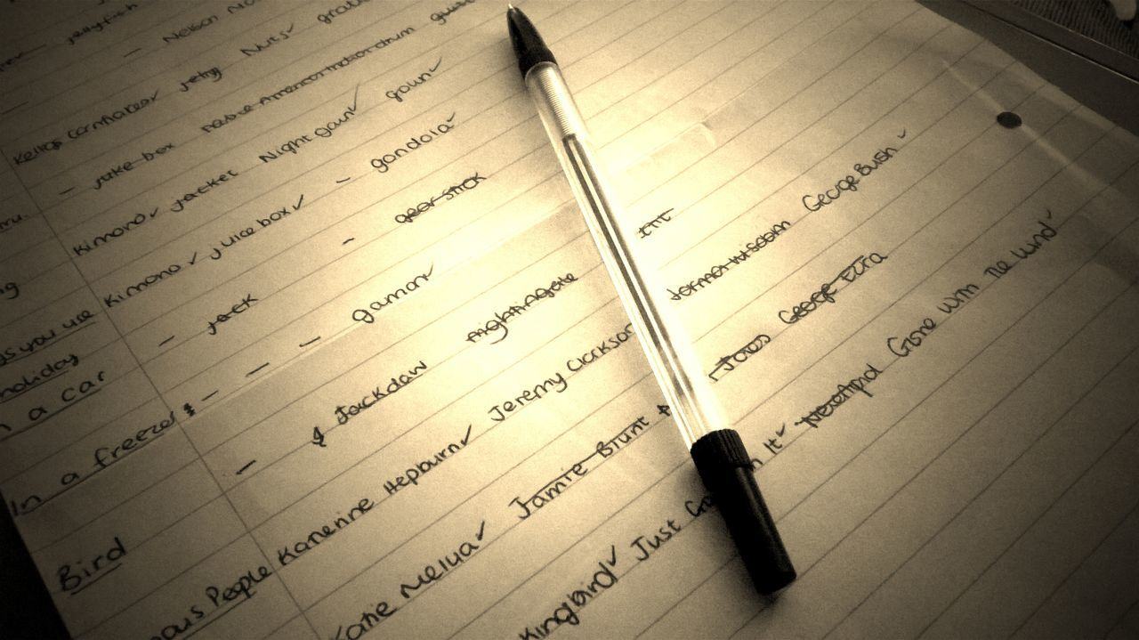 Backgrounds Close-up Day Detail Full Frame Game No People Pen And Paper Still Life Word Game Words Writing Written Written Words