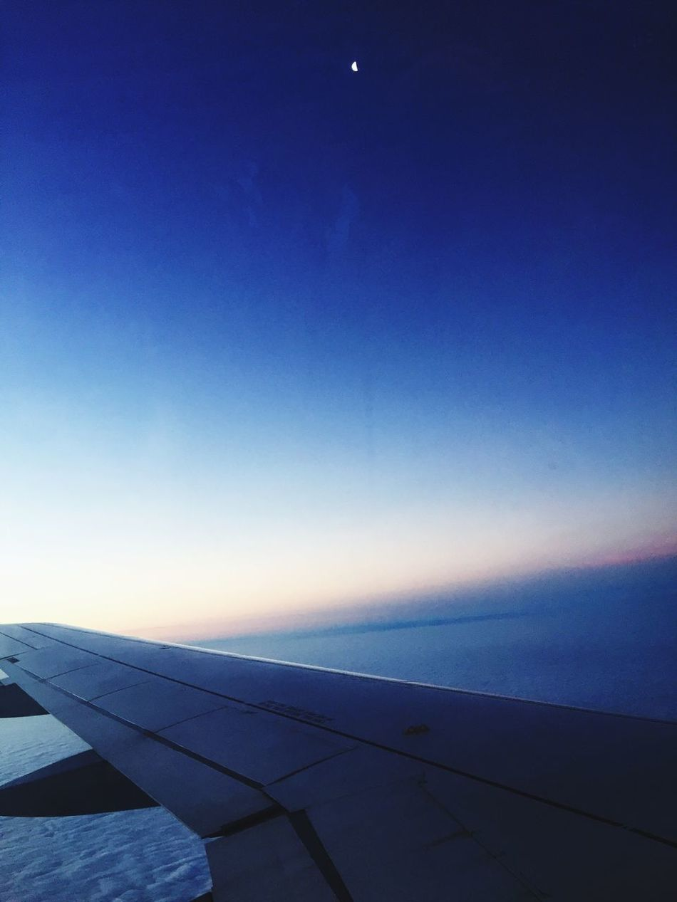 Clear Sky Blue Airplane Wing Airplane Sky Transportation Outdoors Moon Fly Me To The Moon Flying Flying High Travel Traveling Freedom Beautiful