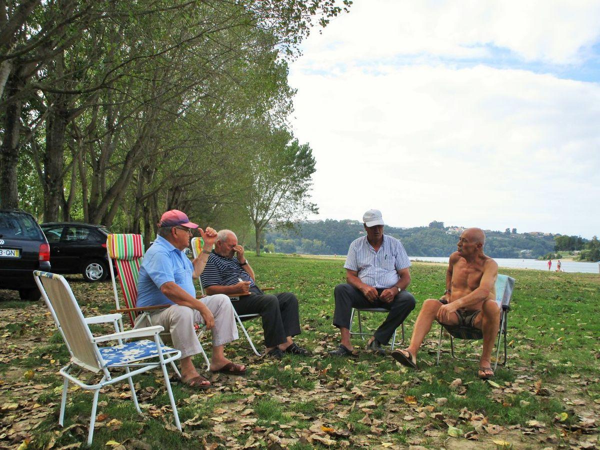 Adult Bonding Cheerful Conversa Conversation Discution Enjoyment Friendship Leisure Activity Lifestyles Men Old Guys Outdoors Relaxation Tree Velhotes