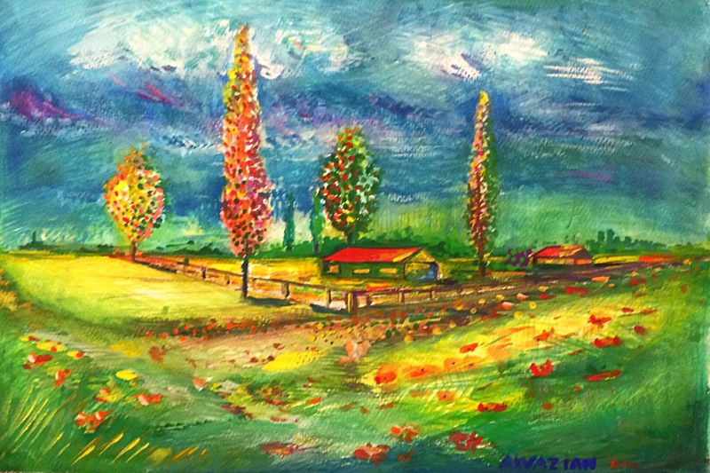 Guevorkaivazian Artist ArtWork Painting Watercolor Paysage Campagne Colors Time Life Silence Art, Drawing, Creativity Illustration visit www.guevorkaivazian.com