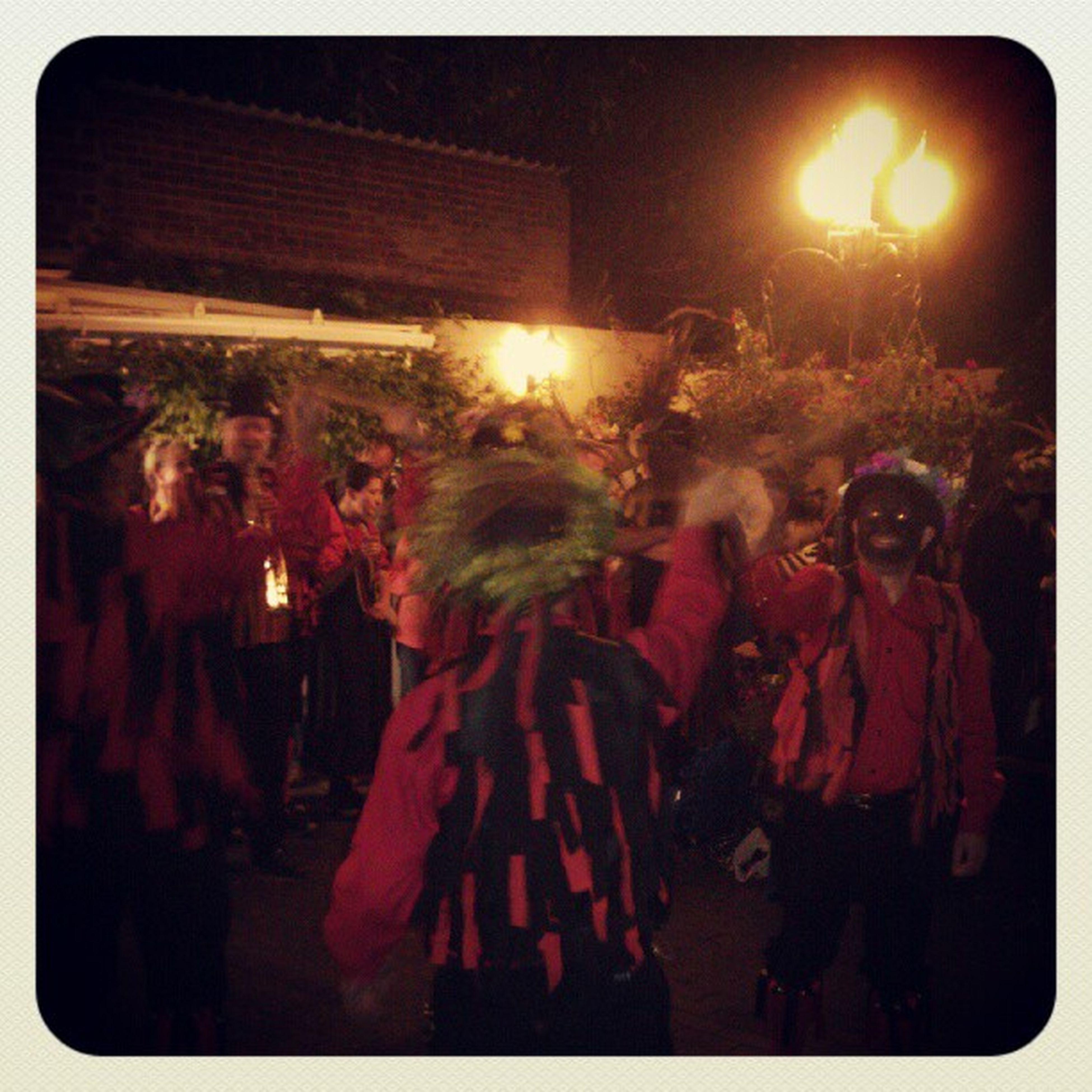 The ironmen dancing at the Royal Exchange.