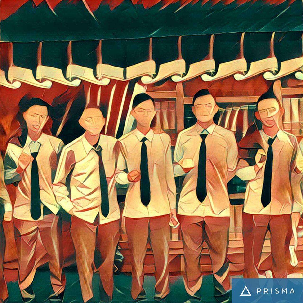 in a row, portrait, smiling, front view, looking at camera, boys, full length, day, people, well-dressed, young adult, adult, only men, outdoors