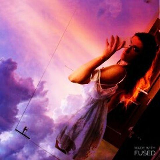White Dress Girl Adult Cloud - Sky One Person Self Portrait Selfie ✌ Mirror Reflection Indoors  Double Exposure Doubleexposure Cloud Surrealism Photography Surreal Portrait Purple Pink Gradient Lace Dress Vaporwave Back Low Back Dress