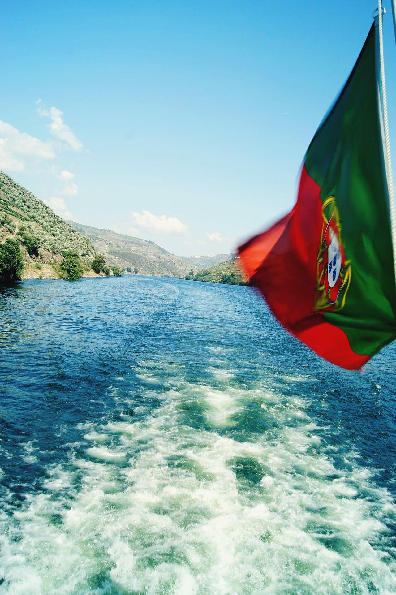 Flag Blue Sky Water No People Mountain Nature Outdoors Day Ships⚓️⛵️🚢 Porto Douro  Oporto Portugal