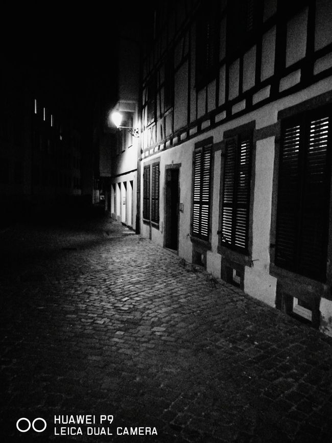 Residential Structure Street Illuminated Colmar, Alsace, France