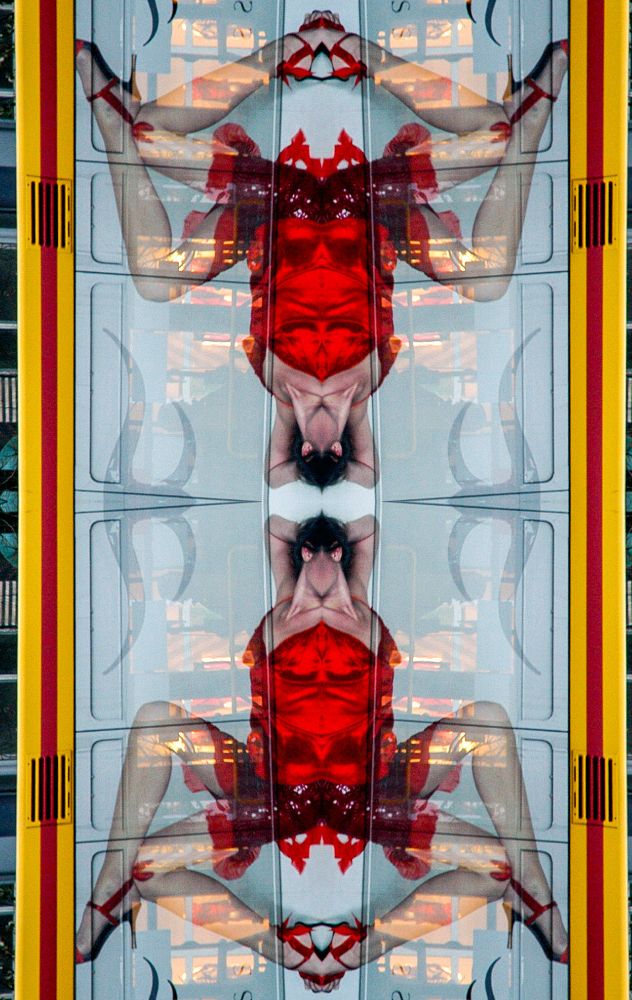 Abstract Photography Advertising Campaign Billboard Mirror Reflection Modification Modified No People Outdoors Red Red Dress Woman Legs Woman's Silhouette