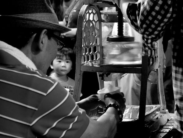 Look Childhood Look Monochrome Night Old Machine  Shave Ice Spinning Summer Festival Of Japan Summertime