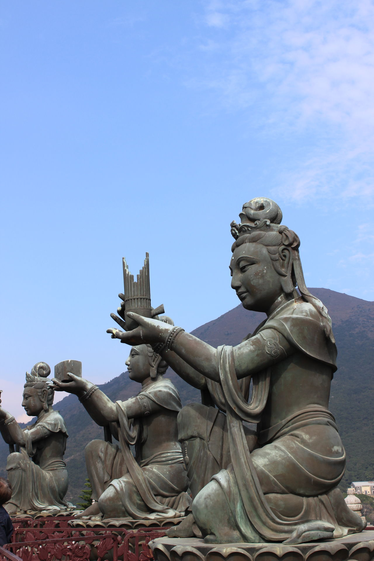 Statue Sculpture Clear Sky No People Religion Sword Sky Outdoors Day Travel Destinations Mountain Travel Photography Cloud - Sky HongKong Tian Tan Buddha (Giant Buddha) 天壇大佛 Young Women Statue Beauty In Nature Close-up Headshot