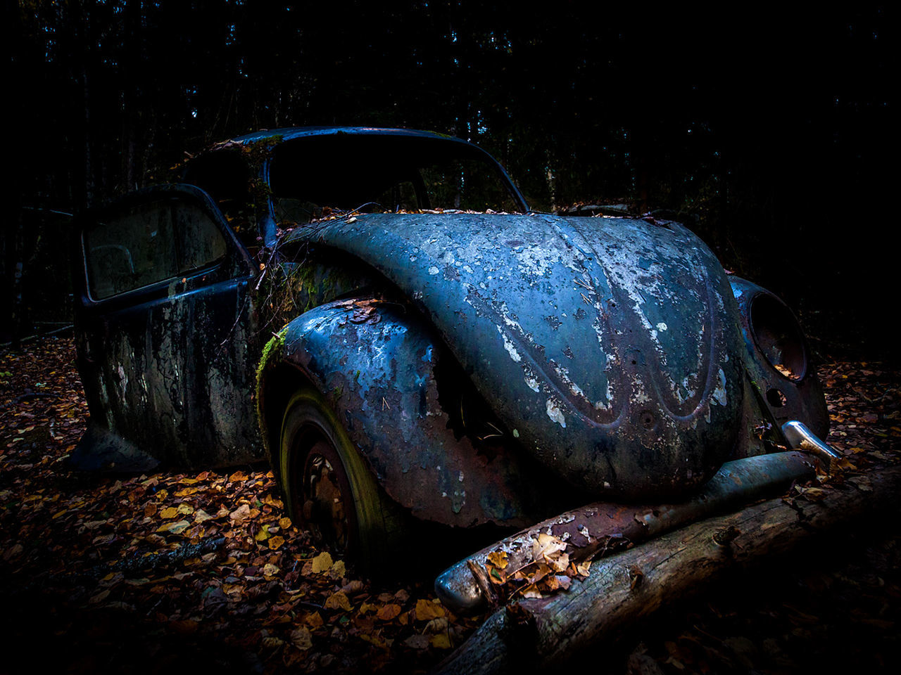 Wreck VW Beetle Car Night Transportation No People Outdoors Nature Beauty In Nature UnderSea First Eyeem Photo The End Of The Road  Fall Rusty Autos