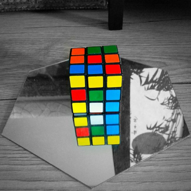 Multi Colored High Angle View No People Colorful Reflection Colour Of Life Rubik's Cube Mirror Mirror Picture Colour Black And White Monochrome