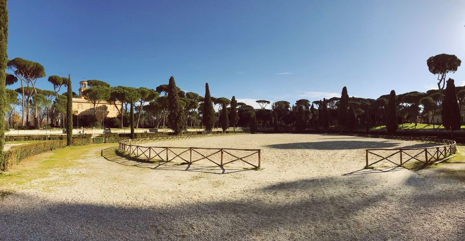 Villa Borghese Park Park Rome Blue Clear Sky Tree Sunlight No People Outdoors Nature Built Structure Palm Tree Day Scenics Sky Sand Beauty In Nature Architecture Panorama