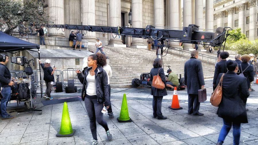 On Location Filming Court House Steps Full Frame Foley Square NYC Urban Landscape Mixed Use Day Real People Outdoors Large Group Of People City Full Length People Architecture