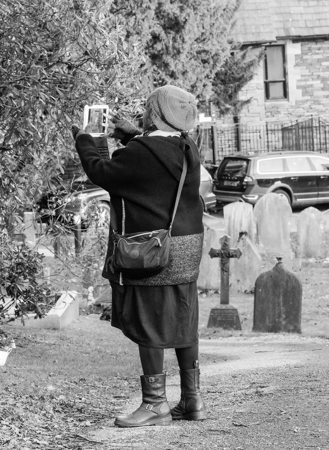 Street Photography Streetlife Black And White Monochrome Photography Woman People Candid Dayout Outdoors Photographing Tablet Ipad Social Media Winter