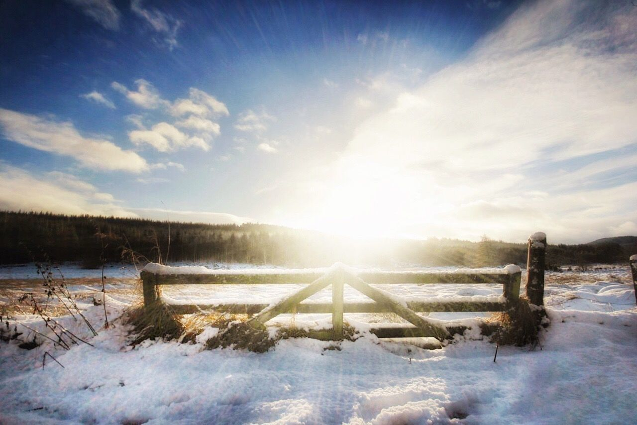 Sunny snow days Snow Snowandsun Gate Winter Cold Temperature Lens Flare Sunbeam Nature Sunlight Sun Landscape Beauty In Nature Sky Scenics Outdoors Cloud - Sky Tranquility Tranquil Scene No People Day Tree WintersceneCanon