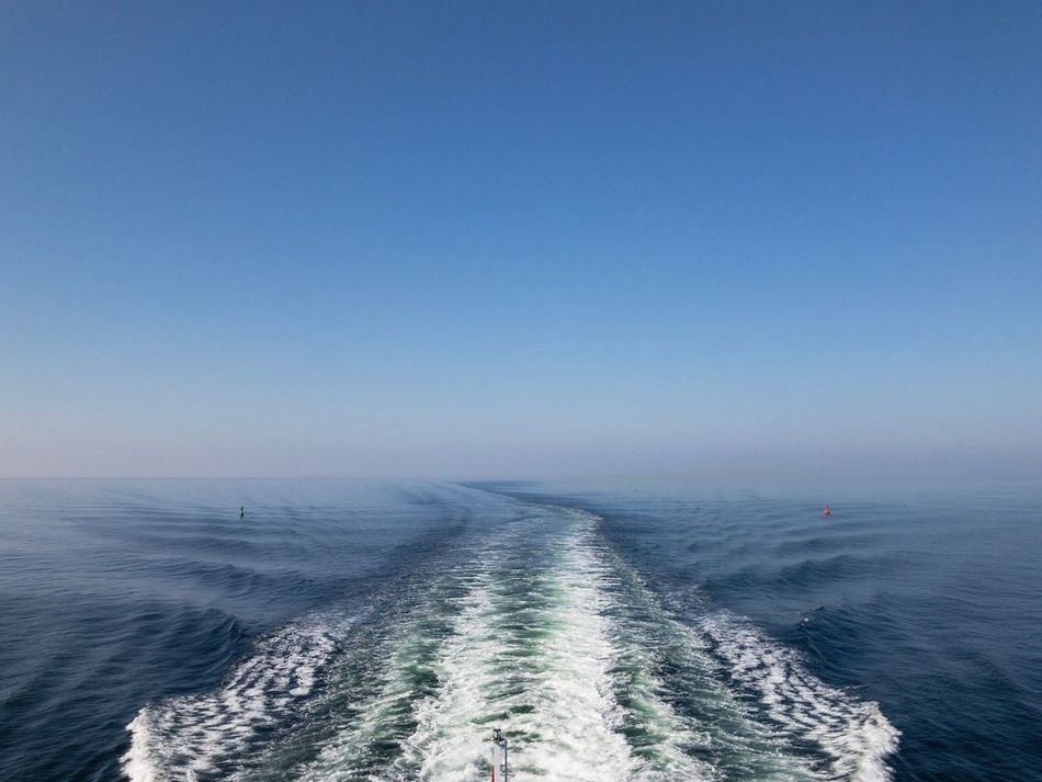 Sea Nature Water Clear Sky Horizon Over Water Beauty In Nature Copy Space Blue Scenics Tranquil Scene Waterfront Outdoors Day No People Tranquility Wake Wake - Water Sky Ostsee Baltic Sea Fähre Ferry Calm Calm Sea