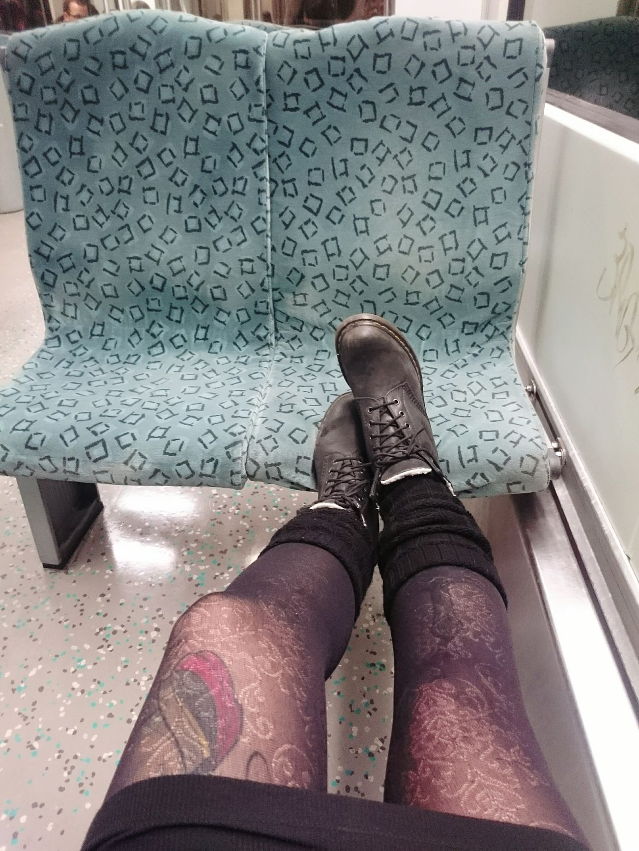 Late at night. Berlin Sbahn Nylons Nylon Legs Good Night Lovers Doc Martens