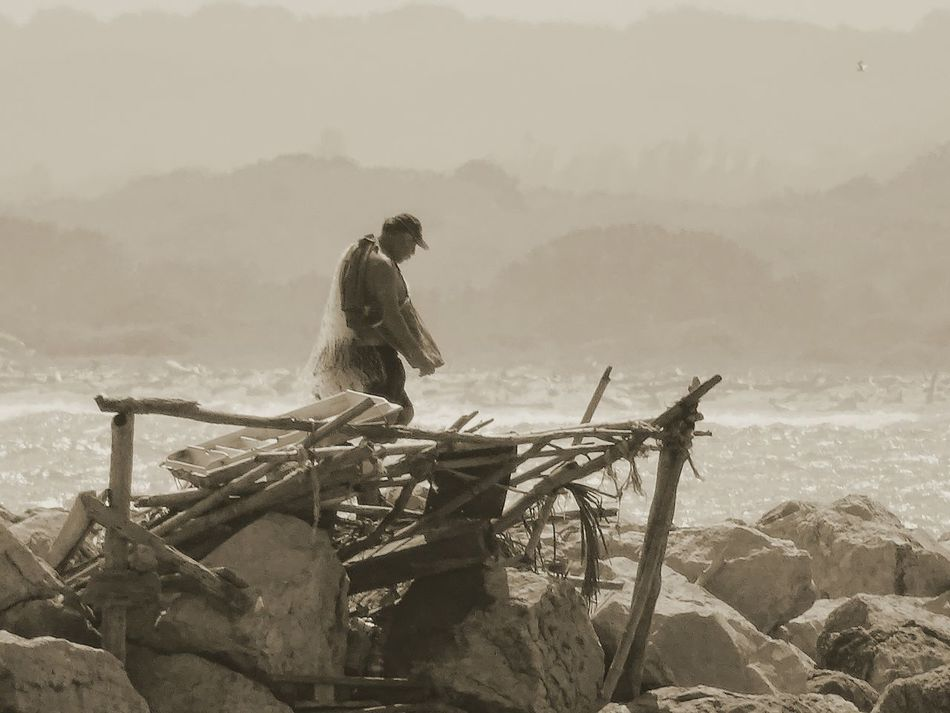 Fishing Man Fishing Time Water Ocean Beach Sad & Lonely Nature Sea One Person Real People EyeEmNewHere