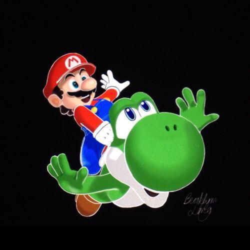 Drawing Art Mario Nintendo Game Videogames Yoshi Green Red