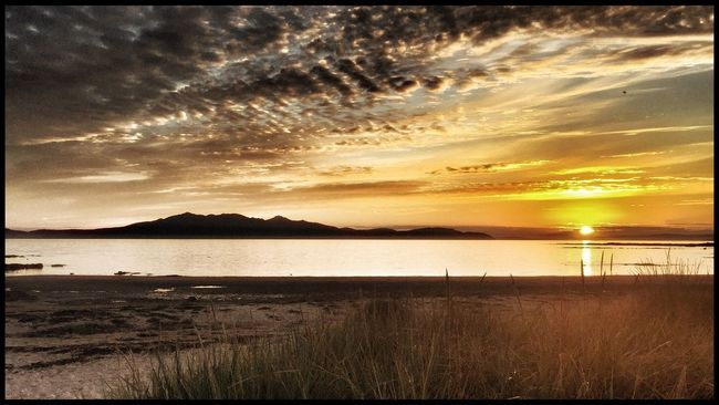 Arran  Sunset Sunset_collection Beach Island Sun Mountains Sand Clouds And Sky Sky Sky And Clouds EyeEm EyeEm Gallery Eye4photography  Eyemphotography Panorama Sunset #sun #clouds #skylovers #sky #nature #beautifulinnature #naturalbeauty #photography #landscape Sunsets Isle Of Arran  from Ardrossan Water Water_collection Beach Photography Grass Sand Dune