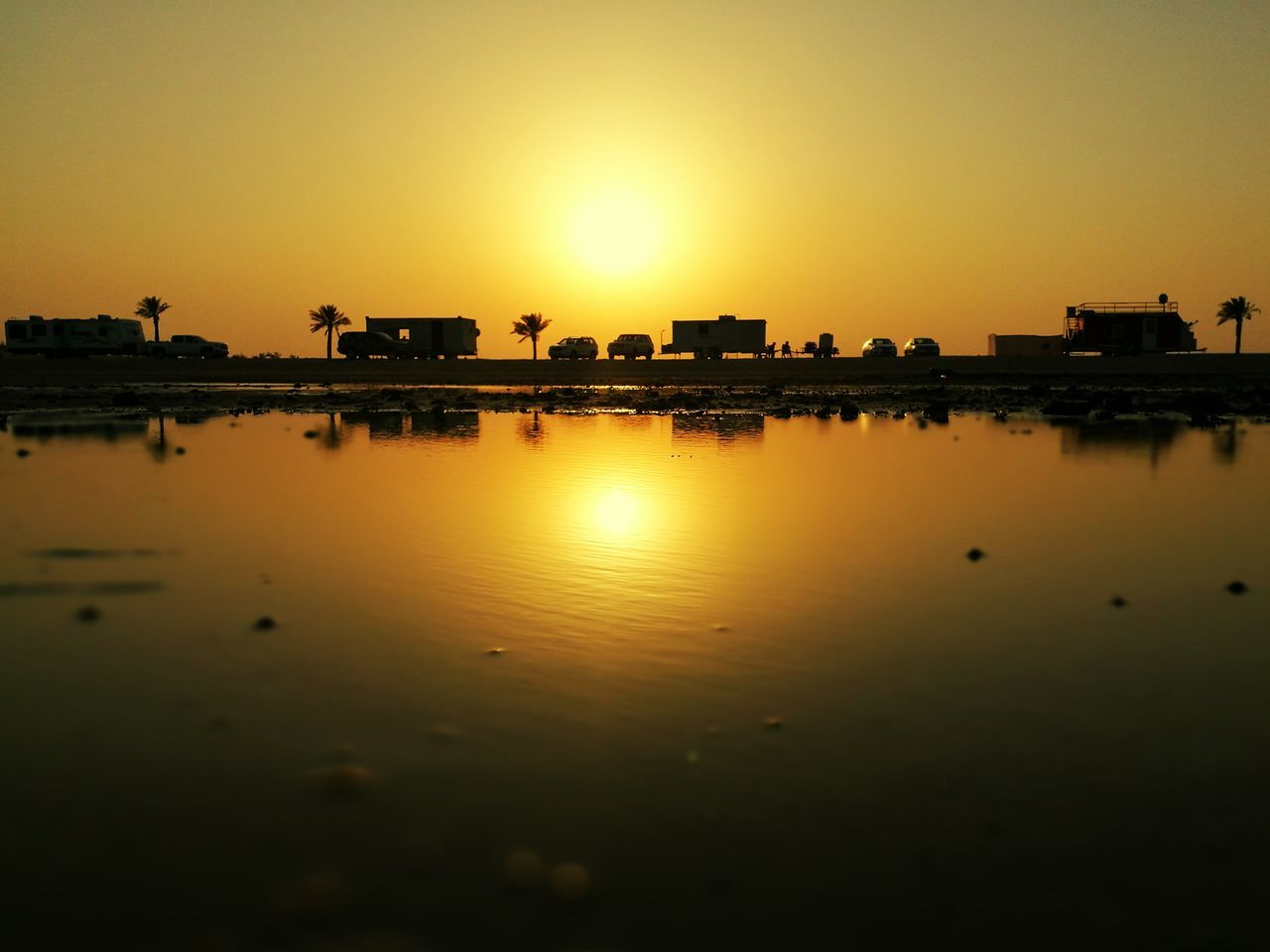 Sunset Water Reflection Sun Beauty In Nature Sea Nature Calm Qatar Alwakrah Beach Beachphotography Palm Trees Beautiful Nature First Eyeem Photo