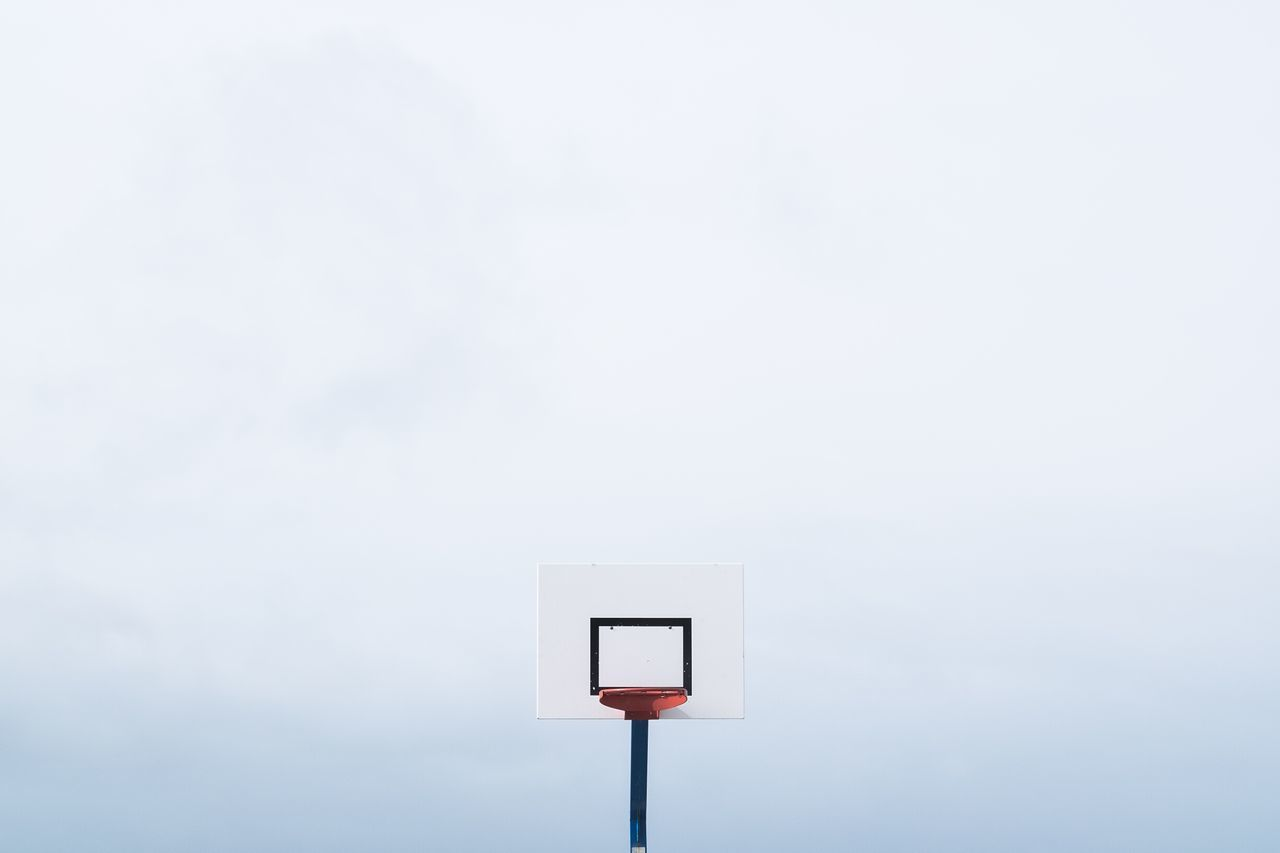 copy space, low angle view, no people, basketball hoop, day, basketball - sport, indoors, close-up, nature, sky